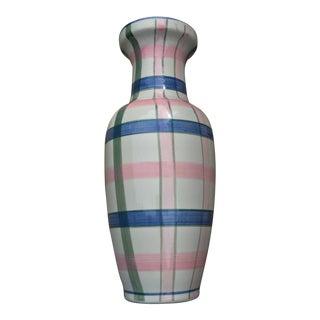 Plaid Hand Painted Vase