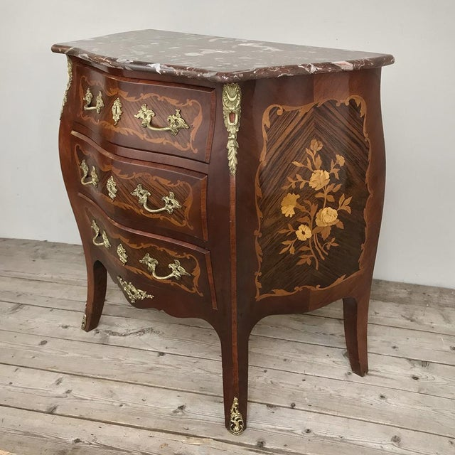 Antique French Louis XV Bombe Marquetry Marble Top Commode For Sale - Image 12 of 13