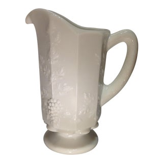 Vintage White Milk Glass Pitcher For Sale