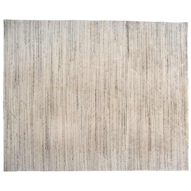 "Diamonds and Stripes Wool Rug - 7'10"" X 9'9"" For Sale - Image 4 of 5"