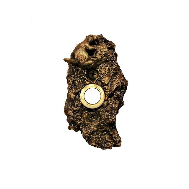 This solid bronze doorbell plate was created from a piece of moderately textured, irregularly shaped pine bark. Due to...