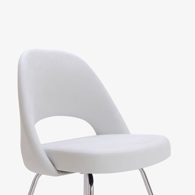 Saarinen Executive Armless Chairs in Dove Luxe Suede, Set of 6 - Image 7 of 8