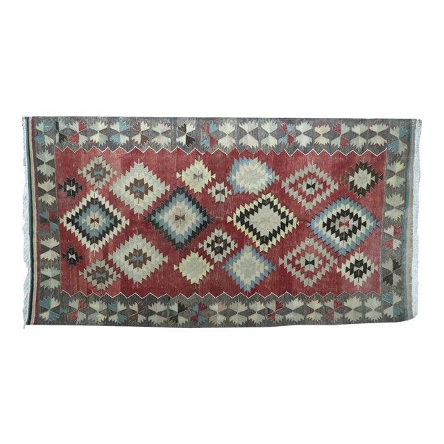 Vintage Turkish Kilim Rug- 5′5″ × 10′ For Sale
