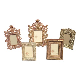 Heavy Carved Wood Gilded Easel Back Picture Photo Frames / Mirror Frames - Set of 5