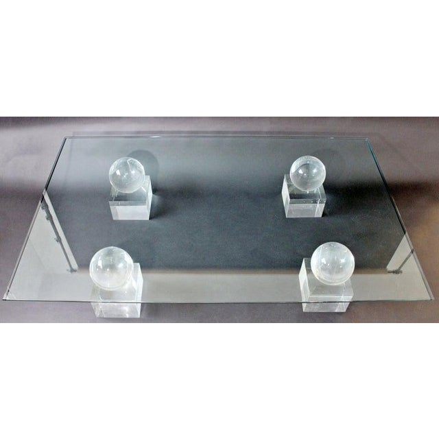 Hollywood Regency Mid-Century Modern Lucite Glass Coffee Table by Karl Springer Comatec, France 1970s For Sale - Image 3 of 10
