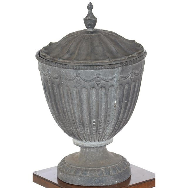 """Antique 21"""" large outdoor metal lidded urn. A beautiful piece that will add to your décor! Size: 14 x 21"""""""