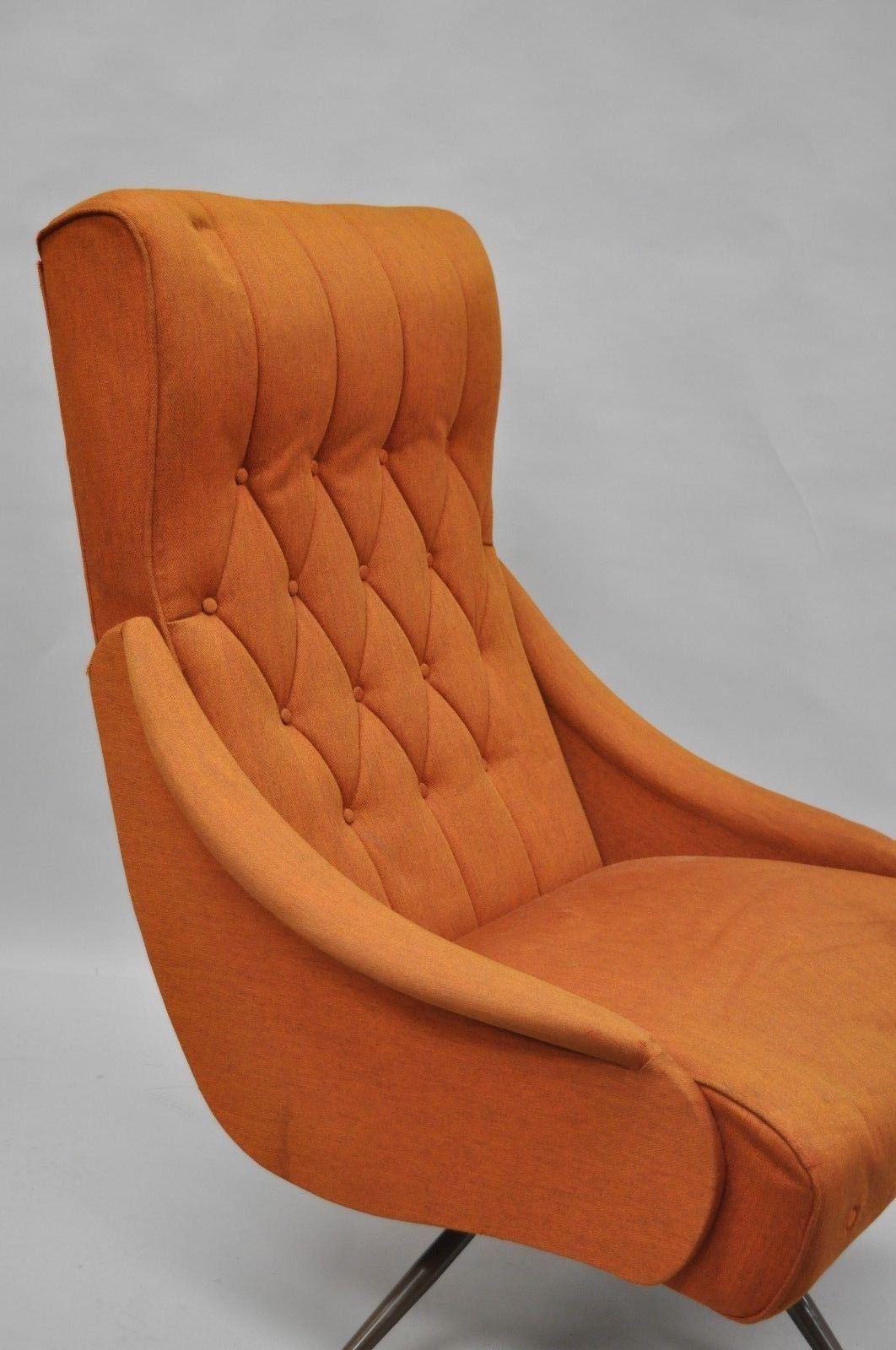 Vintage Mid Century Modern Mak Kraft Of Michigan Orange Fabric Swivel  Lounge Chair   Image 4