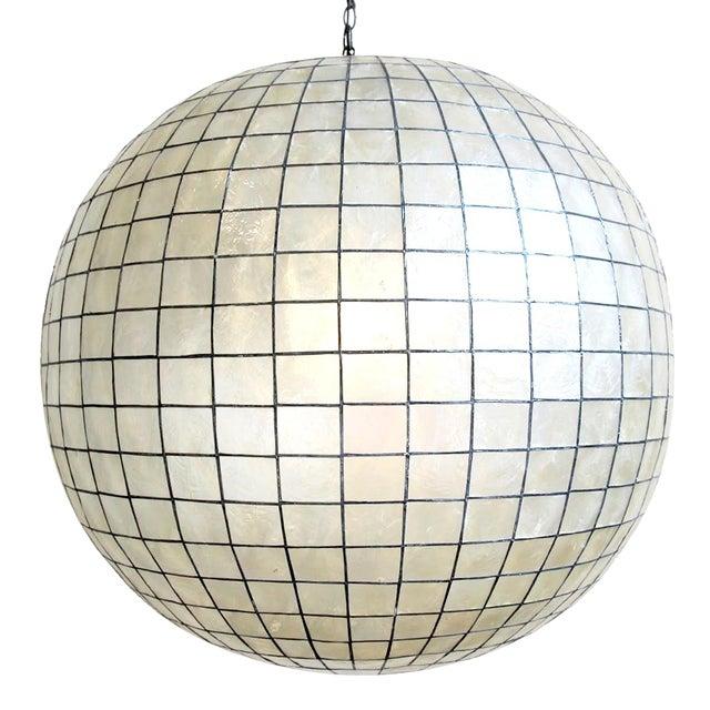 Capiz Shell Globe Lantern 36 For Sale