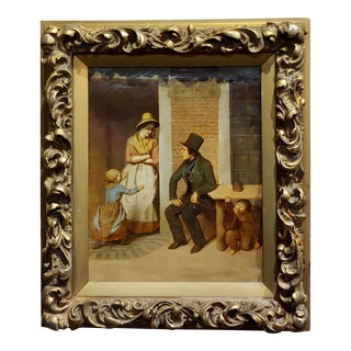19th Century English School -Flirting Around Kids - Oil Painting-C1860s For Sale