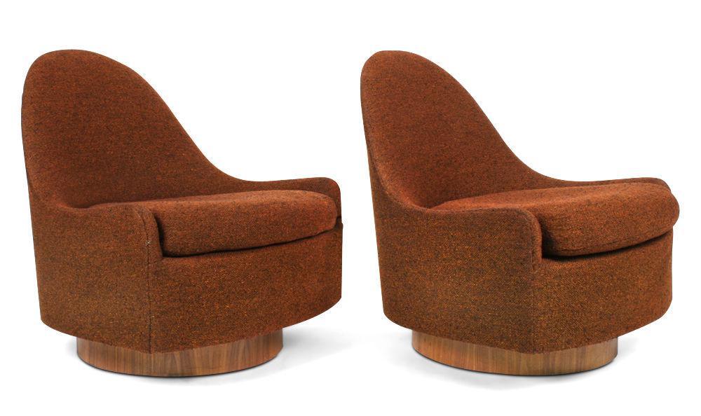 Milo Baughman For Thayer Coggin Teardrop Swivel U0026 Tilt Slipper Chairs   A  Pair   Image