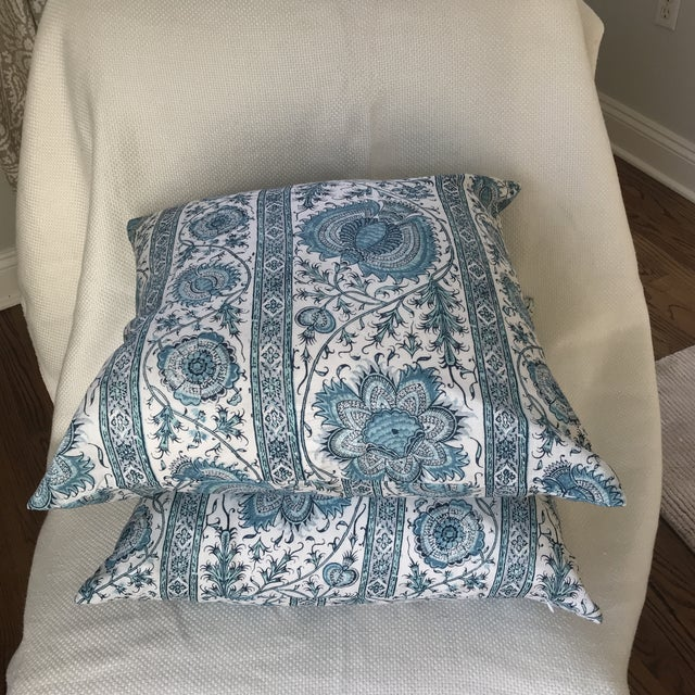 "2010s Quadrille China Seas Linen ""Palampore"" Stripe Pillow Covers- Pair For Sale - Image 5 of 7"