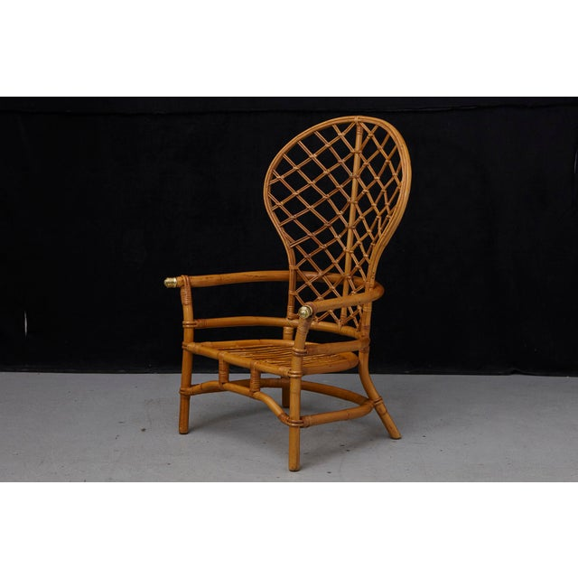 Hollywood Regency High Back Fan Style Rattan Armchair For Sale - Image 4 of 12