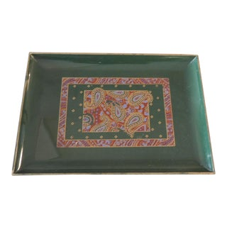 Japanese Paisley Faux Lacquerware Small Tray For Sale