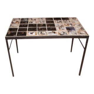 Mid-Century Modern Roger Capron Style Tile Topped Table For Sale