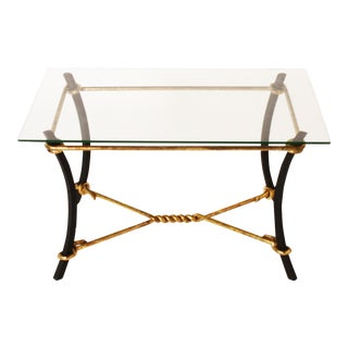 French Black Metal & Golden Iron Coffee Table in the Style of Jacques Adnet, C. 1940 For Sale
