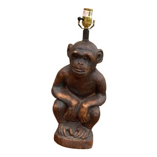 Contemporary Brown Chalkware Monkey Figure Lamp For Sale