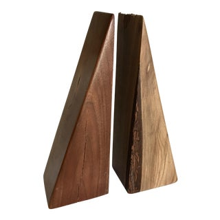 Natural Wood Bookends - A Pair