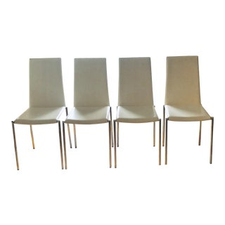 Contemporary Italian Steel Line Cuoietto Aria2 Dining Chairs - Set of 4 For Sale