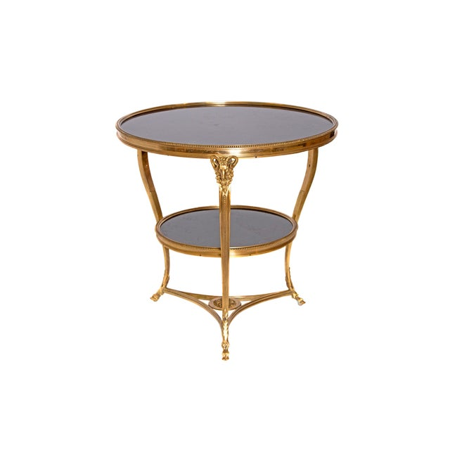 Louis XVI Style Gilt Bronze and Black Marble French Gueridon For Sale - Image 13 of 13