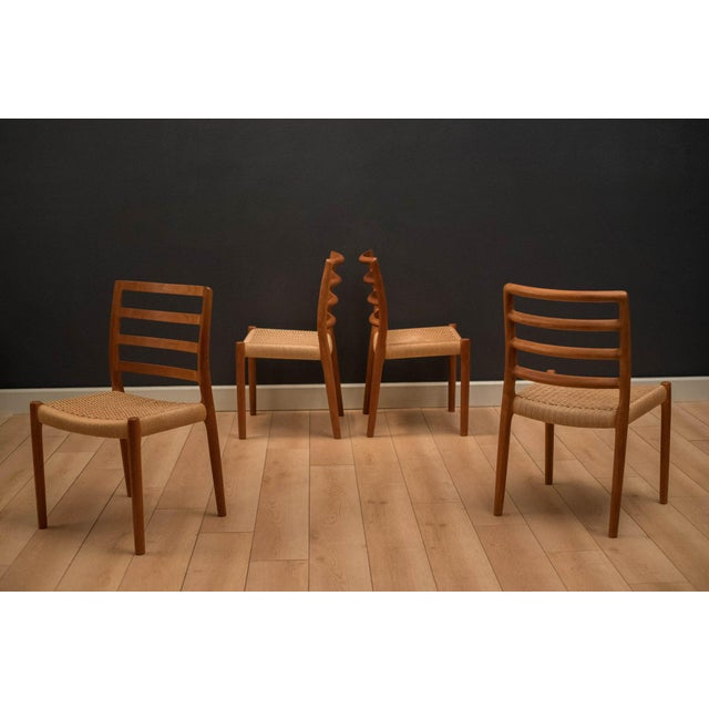 Paper Vintage Mid Century Moller Model 85 Danish Teak Dining Chairs- Set of 8 For Sale - Image 7 of 12