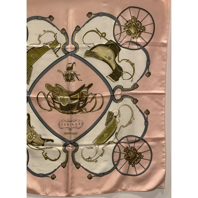 """Beautiful soft pink equestrian themed """"Springs"""" Silk scarf by Hermes. 35"""" square. Made in France."""