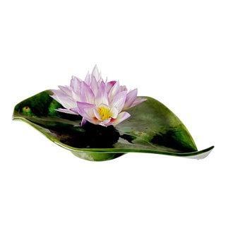 Large Lotus Leaf Majolica Frog Vase Studio Art Pottery Signed by Artist For Sale