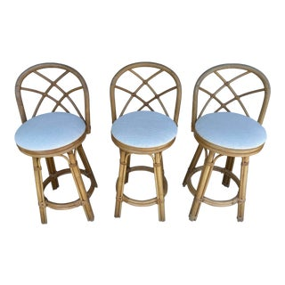 Set of 3 Rattan Counter Stools For Sale