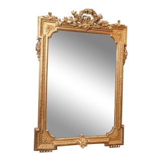 Antique Gold Leaf Beveled Mirror circa 1855-1865
