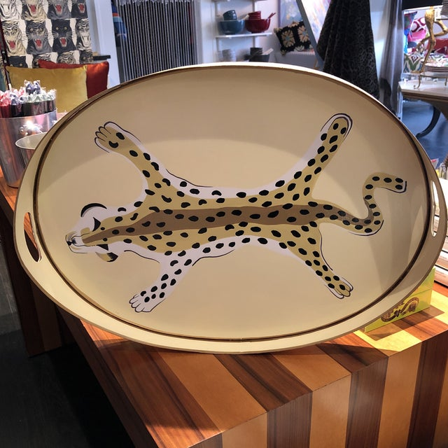 Dana Gibson Oval Leopard Tray For Sale In New York - Image 6 of 6