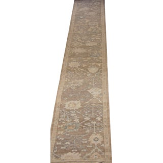 Contemporary Oushak Persian Rug With Large Floral Field in Brown and Beige Preview