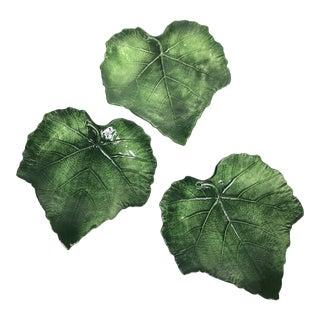 Italian Green Grape Leaf Plates by Vietri Foglia - Set of 3 For Sale