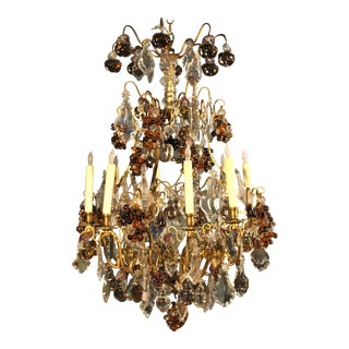 Large and Beautiful French Louis XV Style Bronze and Crystal Chandelier For Sale