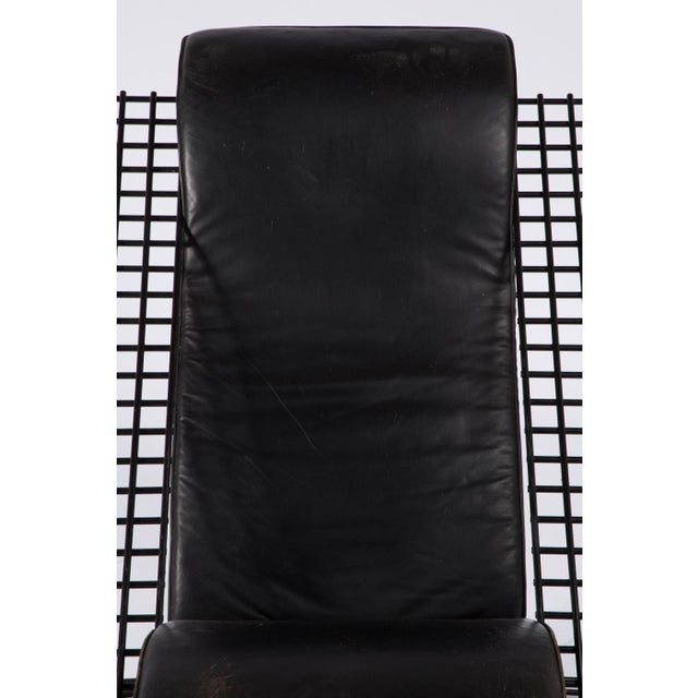 Metal 1980s Cantilevered Postmodern Wire Mesh Armchair and Ottoman For Sale - Image 7 of 13