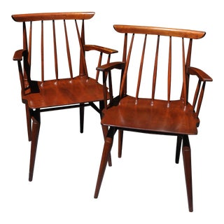 Mid-Century Willett Cherry Wood Chairs - a Pair