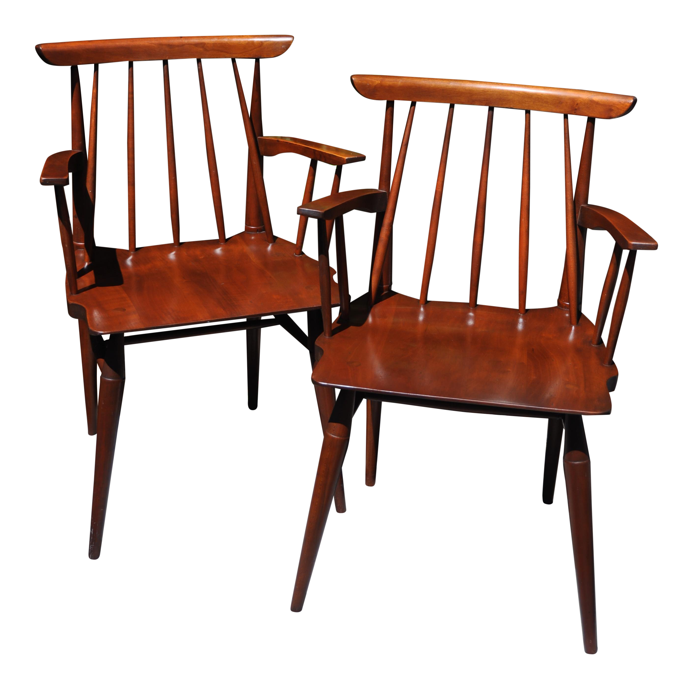 Mid Century Willett Cherry Wood Chairs   A Pair