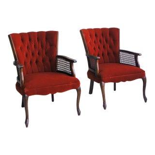 Red Queen Anne Armchairs W/ Cane Screens - a Pair