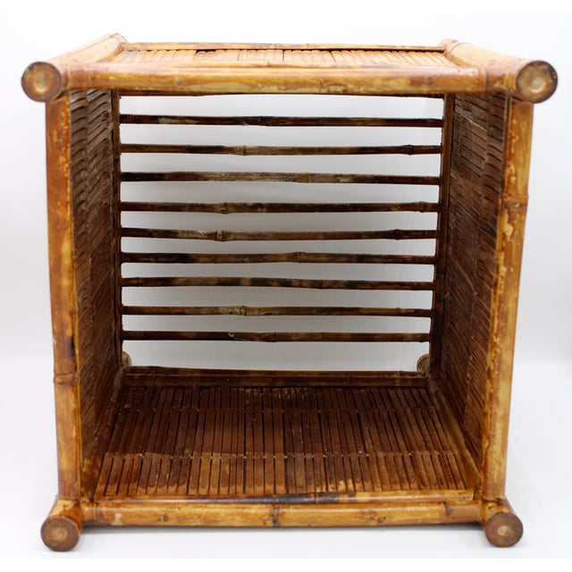 1960s 1960s Vintage Burnt Bamboo Magazine Rack For Sale - Image 5 of 12