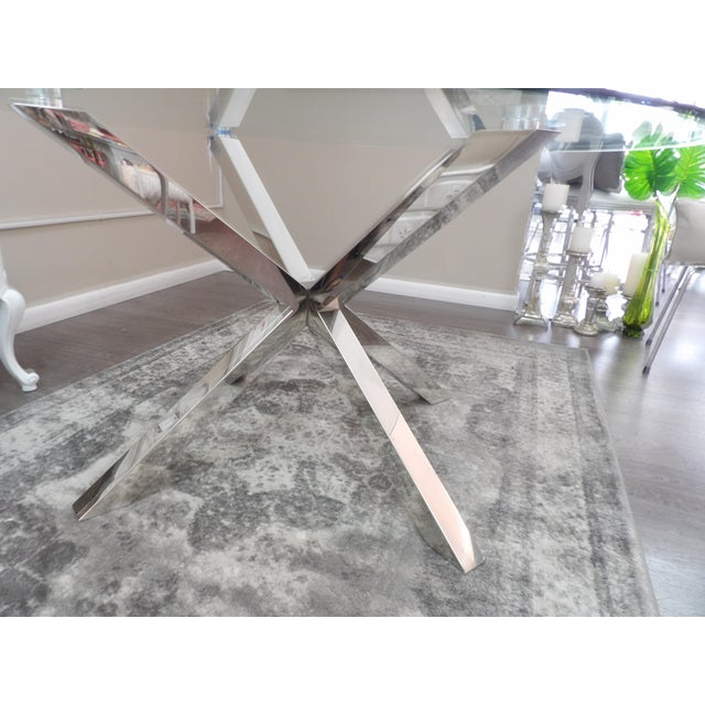 Modern Polished Chrome Based Glass Topped Dining Table For Sale In West Palm - Image 6 of 7