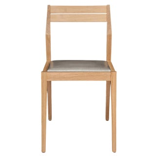 Stillmade Solid White Oak Dining Chair with Leather Seat For Sale