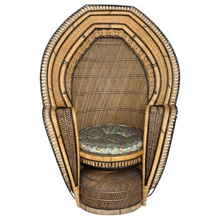 Vintage Handcrafted Wicker, Rattan and Reed Peacock Chair For Sale