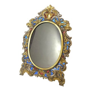 19th Century Italian Sterling and Enamel Picture Frame For Sale