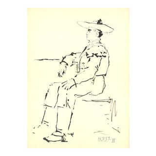 """Pablo Picasso Man Sitting in a Chair 14.5"""" X 10.5"""" Lithograph 1959 Cubism Black & White For Sale"""