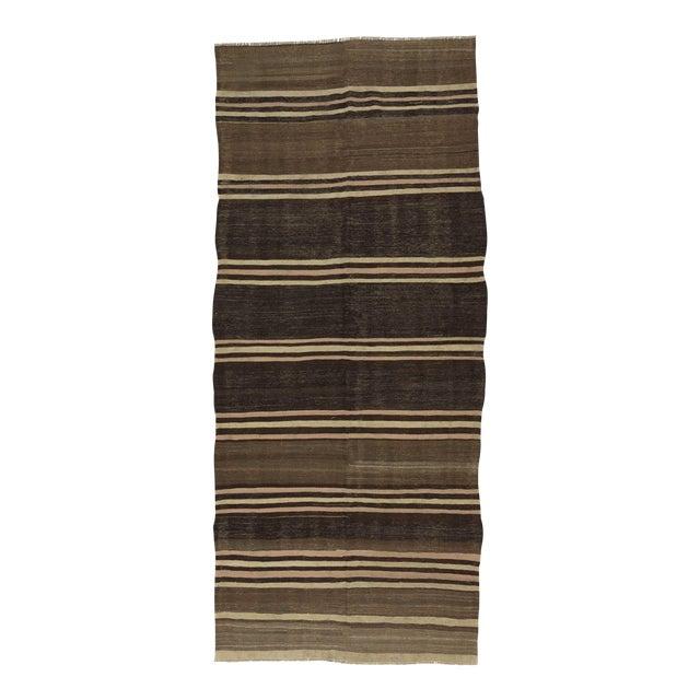 Neutral Striped Turkish Kilim Rug - 5′2″ × 11′6″ For Sale