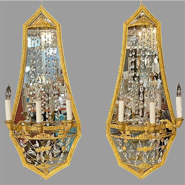 Neoclassical Maison Baguès Mirrored Wall Lights, Sconces or Girandoles - a Pair For Sale - Image 3 of 13