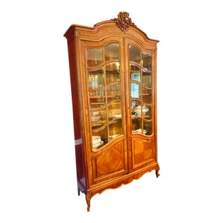 19th Century French Louis XV Style Walnut Parquet Vitrine For Sale