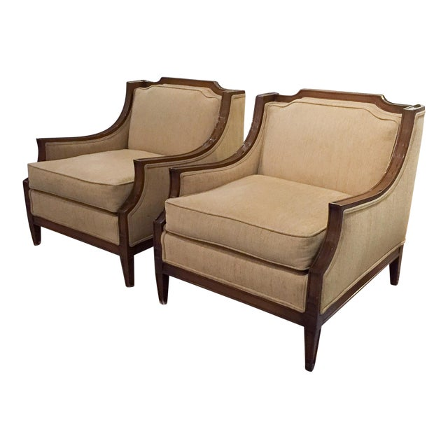 Mid-Century Regency, Transitional Style Club Chairs - a Pair - Image 1 of 8