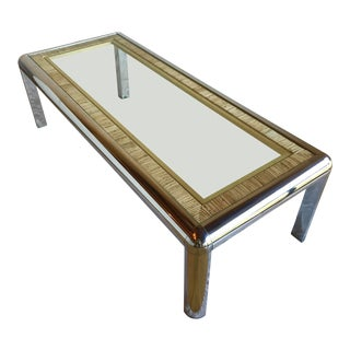 1970s Mid Century Modern Milo Baughman Tubular Chrome Rattan Cane and Brass Coffee Table For Sale