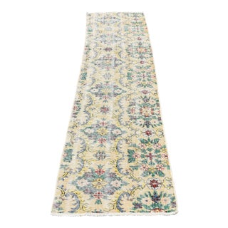 Vintage Turkish Handmade Oushak Runner Rug Muted Floral Design Runner Rug Hallway 2x8 Ft For Sale