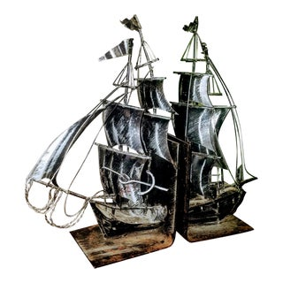 1920s Antique Steel Nautical Jolly Roger Ship Bookends - a Pair