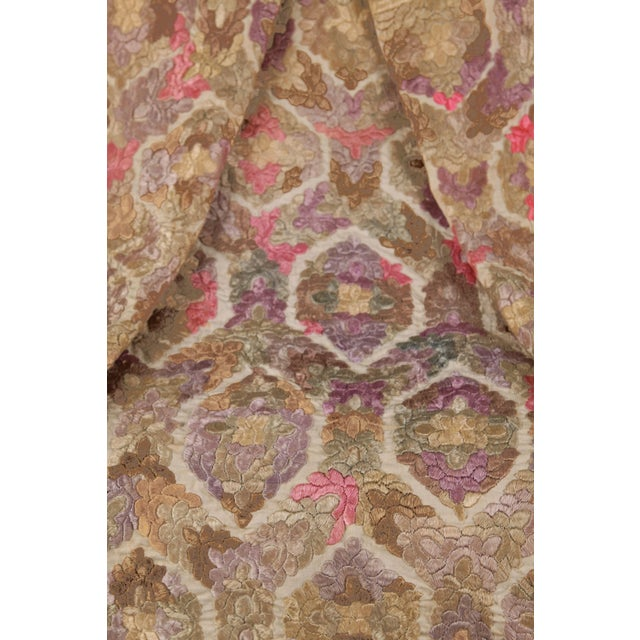 Antique Embroidered Damask Fabric For Sale - Image 4 of 6